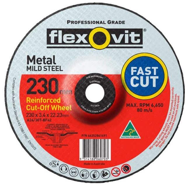 Flexovit Metal  Cut-Off Wheel 230 x 3.4 x 22.2mmm