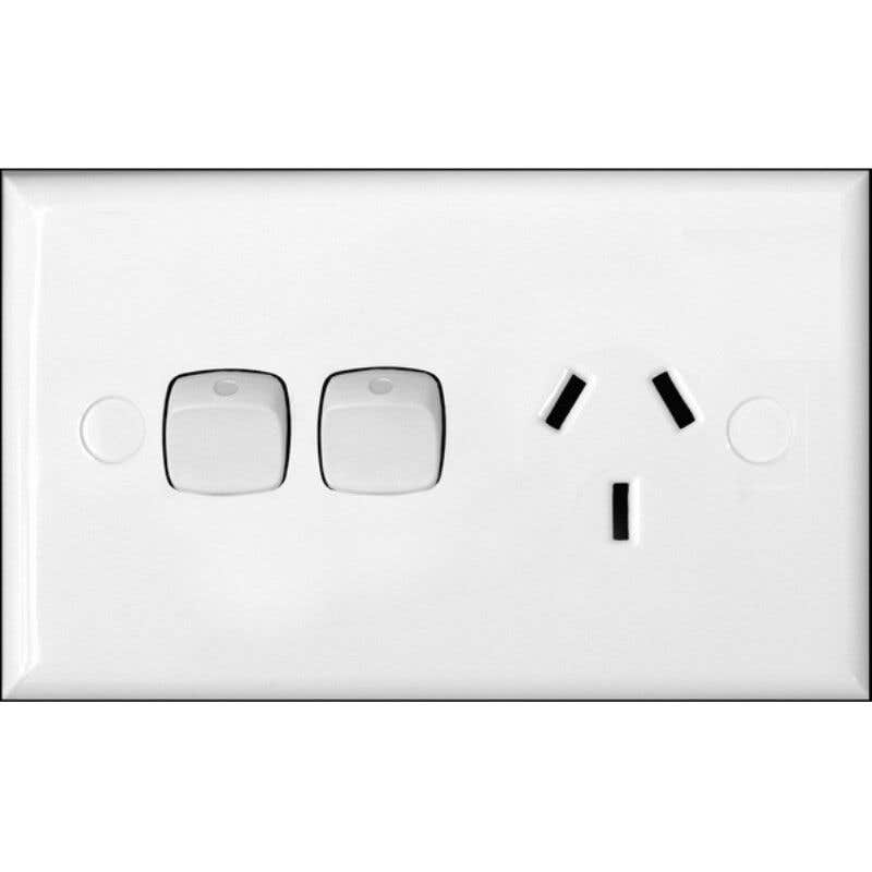 HPM 10A Single Powerpoint With Extra Switch White