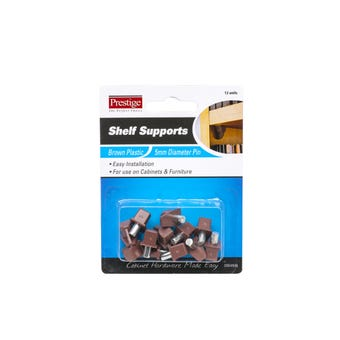 Prestige Plastic Shelf Supports Brown 5mm - 12 Pack