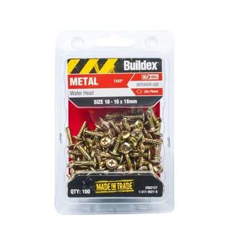 Buildex Metal Screws Wafer Head Zinc 10 - 16 x 16mm - 100 Pack