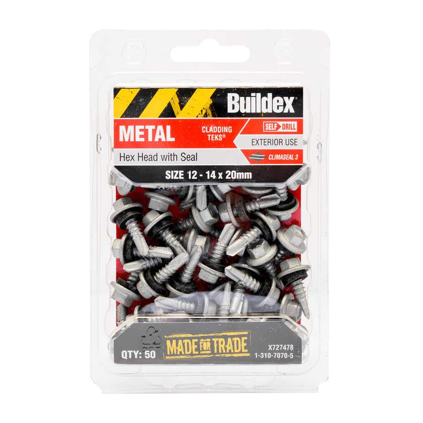 Buildex® Metal Cladding Teks Hex Head with Seal 12 - 14 x 20mm - 50 Pack
