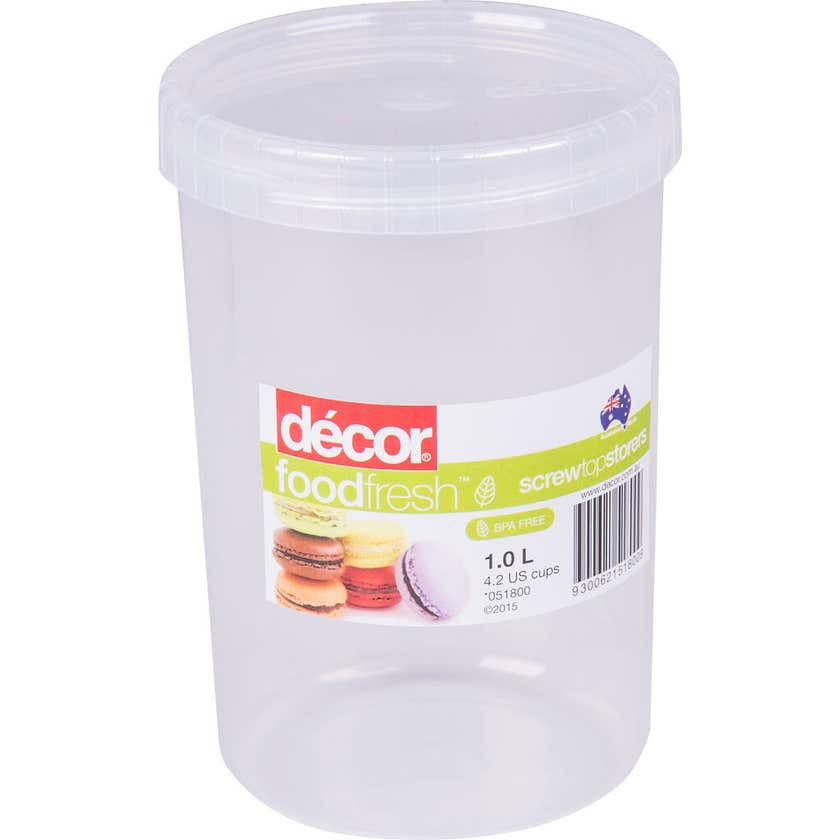 Decor Screw Top Container 1L