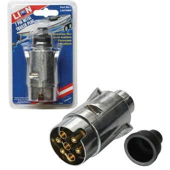 Lion 7 Pin Round Metal Trailer Plug Large