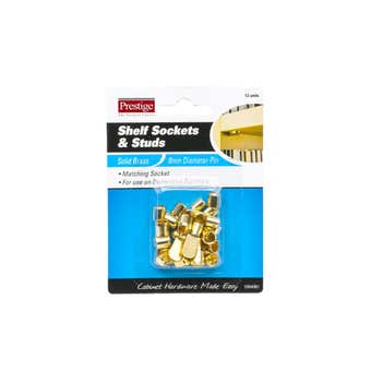 Prestige Flat Shelf Supports Solid Brass - 12 Pack