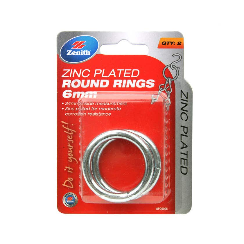 Zenith Round Ring Zinc Plated 34 x 6mm - 2 Pack