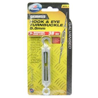 Zenith Hook & Eye Turnbuckle Galvanised 5.5mm - 1 Pack