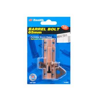 Zenith Barrel Bolt Florentine Bronze 65mm - 1 Pack