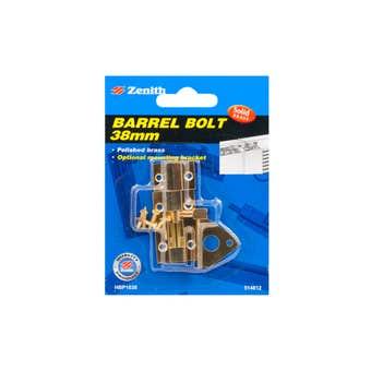 Zenith Barrel Bolt Polished Brass 38mm - 1 Pack