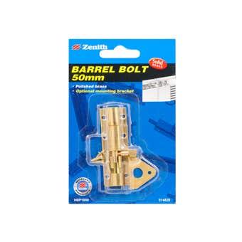 Zenith Barrel Bolt Polished Brass 50mm - 1 Pack