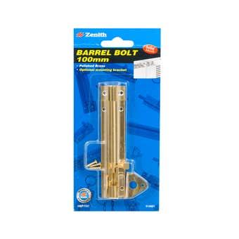 Zenith Barrel Bolt Polished Brass 100mm - 1 Pack