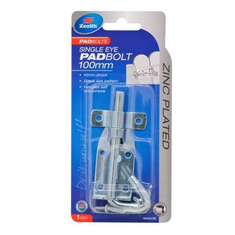 Zenith Single Eye Padbolt Zinc Plated 100 x 10mm