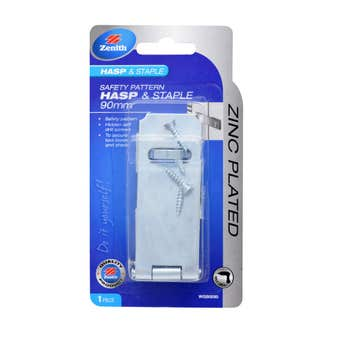 Zenith Safety Pattern Hasp & Staple Zinc Plated 90mm - 1 Pack