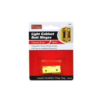 Prestige Light Cabinet Butt Hinges Polished Brass 38mm - 2 Pack