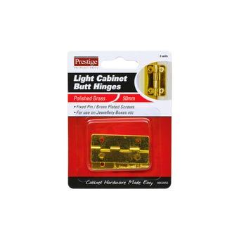 Prestige Light Cabinet Butt Hinges Polished Brass 50mm - 2 Pack