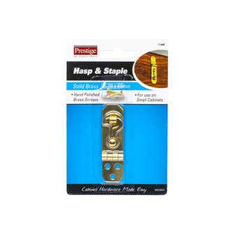 Prestige Hasp & Staple Hooked Polished Brass 69 x 19mm - 1 Pack