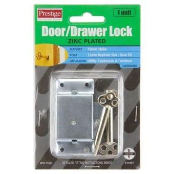 Prestige Drawer Lock With Key Nickel Plated