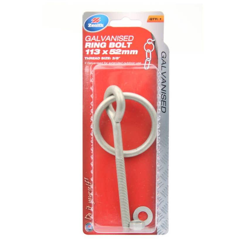 Zenith Ring Bolt Galvanised 105 x 52mm - 1 Pack
