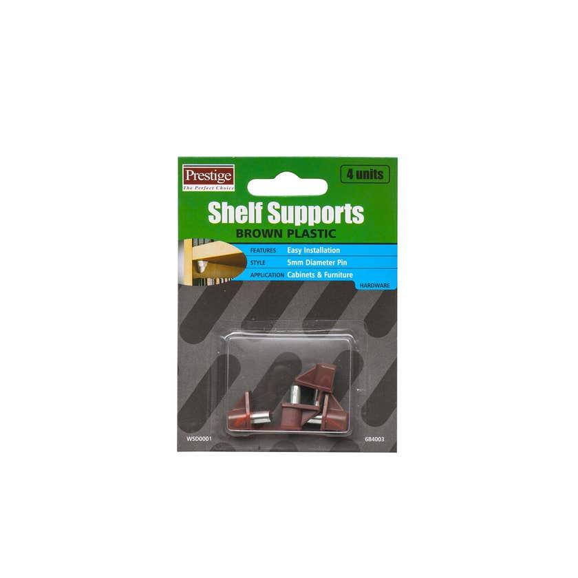 Prestige Plastic Shelf Supports Brown 5mm - 4 Pack