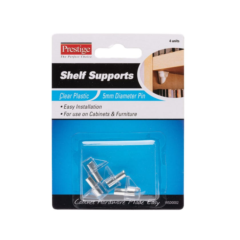 Prestige Plastic Shelf Supports Clear 5mm - 4 Pack