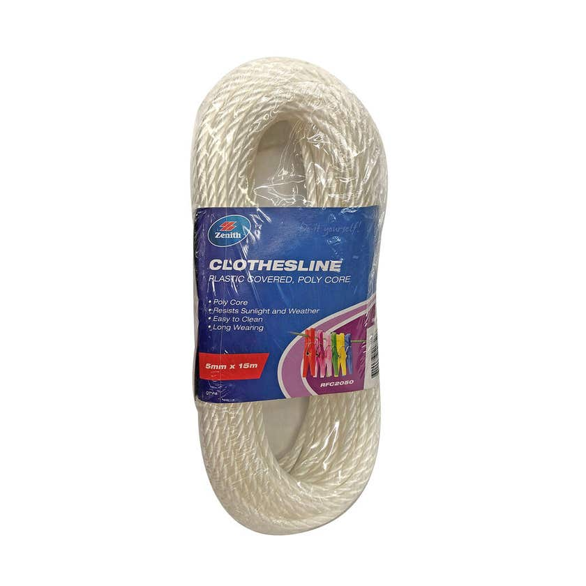 Zenith Clothesline Poly Core White 5mm x 15m