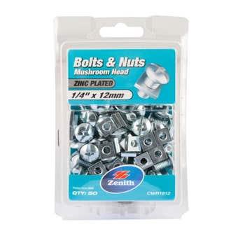 "Zenith Bolts & Nuts Mushroom Zinc Plated 1/4"" x 12mm - 50 Pack"