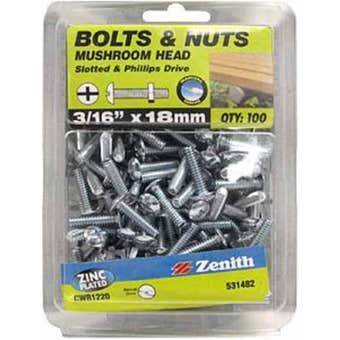 "Zenith Bolts & Nuts Mushroom Zinc Plated 3/16"" x 18mm - 100 Pack"
