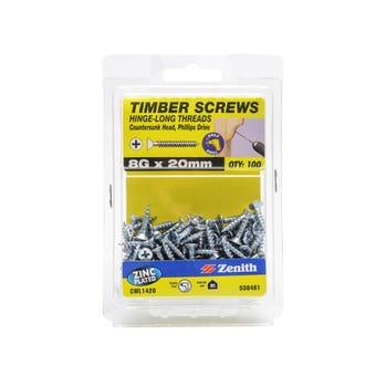 Zenith Timber Screws Long Thread Countersunk Zinc Plated 8G x 20mm - 100 Pack