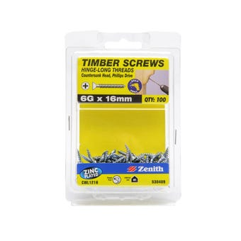 Zenith Timber Screws Long Thread Countersunk Zinc Plated 6G x 16mm - 100 Pack