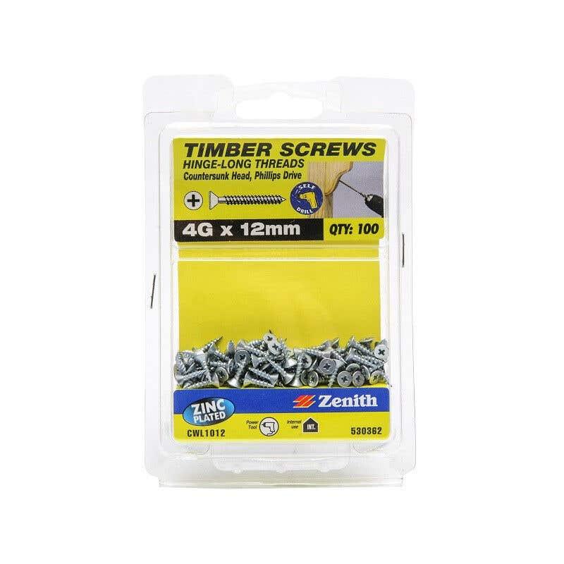 Zenith Timber Screws Countersunk Zinc Plated 4G x 12mm - 100 Pack