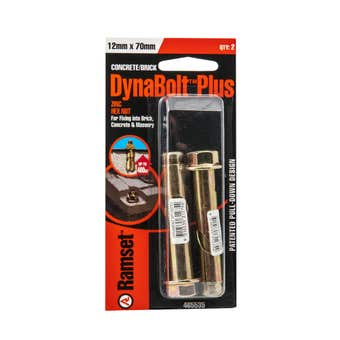 Ramset Dynabolt Plus Hex Head Gold Passivated 12 x 70mm - 2 Pack