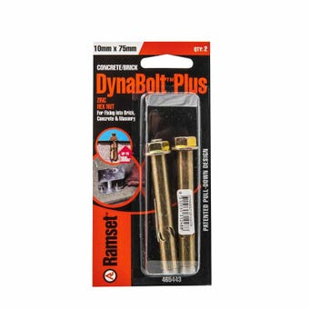 Ramset Dynabolt Plus Hex Head Gold Passivated 10 x 75mm - 2 Pack