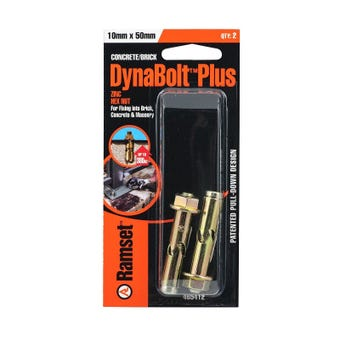 Ramset Dynabolt Plus Hex Head Gold Passivated 10 x 50mm - 2 Pack
