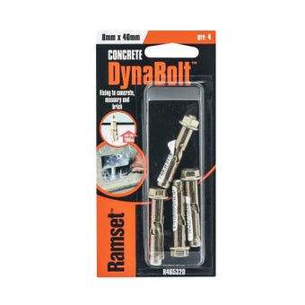 Ramset Dynabolt Plus Hex Head Gold Passivated 8 x 40mm - 4 Pack