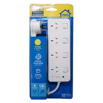 HPM 10A Surge Protected Powerboard 4 Outlet
