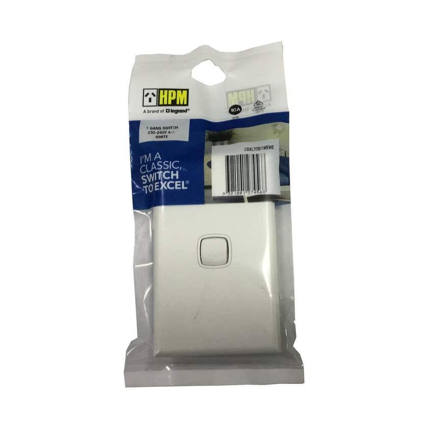 HPM Switch 1 Gang 10A White