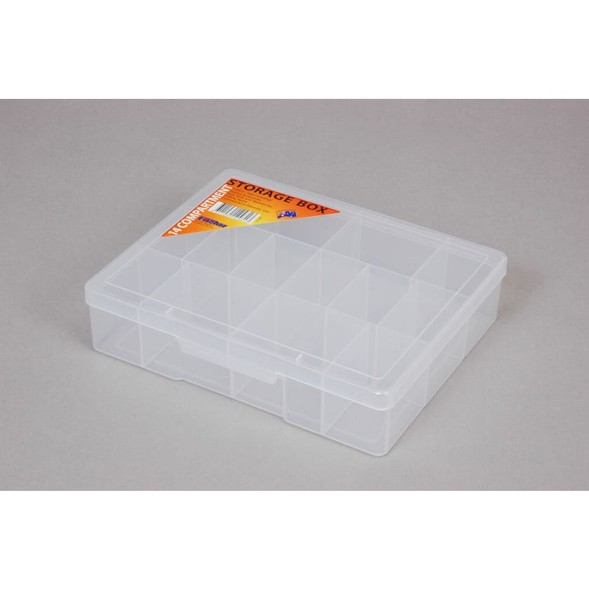 Fischer Storage Box Clear Medium 14 Compartment