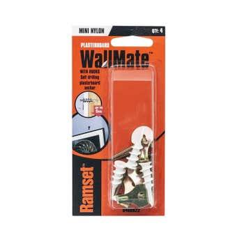 Ramset WallMate Nylon Mini With Hooks 5kg - 4 Pack