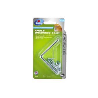 Zenith Angle Bracket Zinc Plated 63 x 63 x 35 - 2 Pack