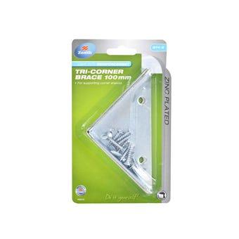 Zenith Tri Corner Brace Zinc Plated 100 x 22mm - 2 Pack