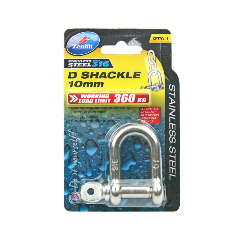 Zenith D-Shackle Stainless Steel 10mm - 1 Pack