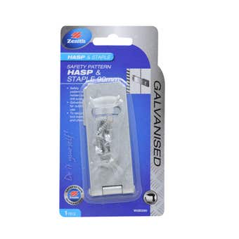Zenith Safety Pattern Hasp & Staple Galvanised 90mm - 1 Pack