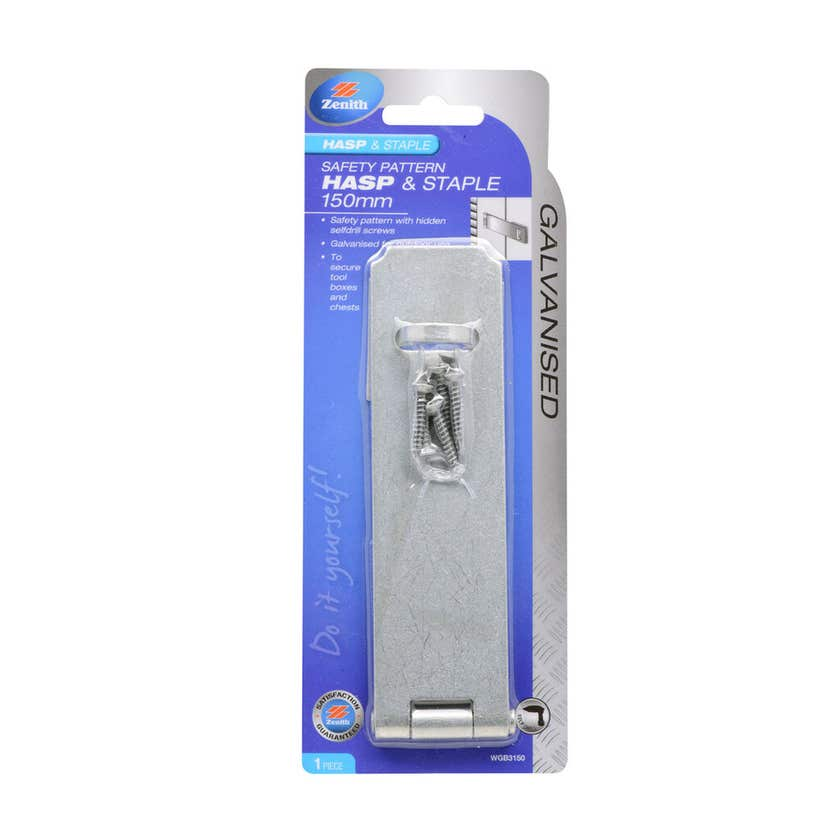 Zenith Safety Pattern Hasp & Staple Galvanised 150mm - 1 Pack
