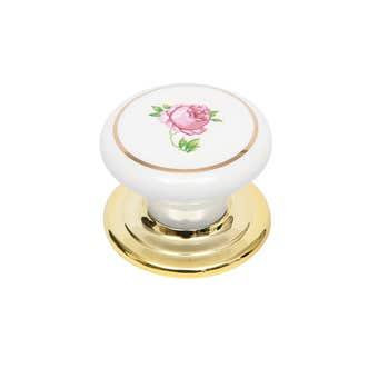 Prestige Ceramic Knob White/Pink Flowers 38mm