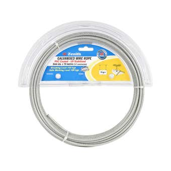 Zenith Wire Rope PVC Coated Galvanised 3mm x 10m - 1 Pack