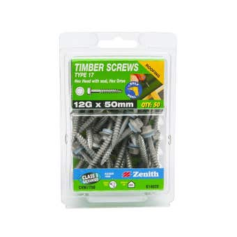 Zenith Timber Screws Hex with Seal Galvanised 12G x 50mm - 50 Pack