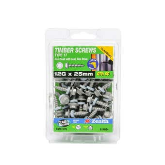 Zenith Timber Screws Hex with Seal Galvanised 12G x 25mm - 50 Pack