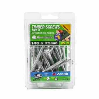 Zenith Timber Screws Hex with Seal Galvanised 14G x 75mm - 25 Pack