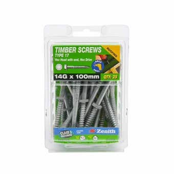 Zenith Timber Screws Hex with Seal Galvanised 14G x 100mm - 25 Pack