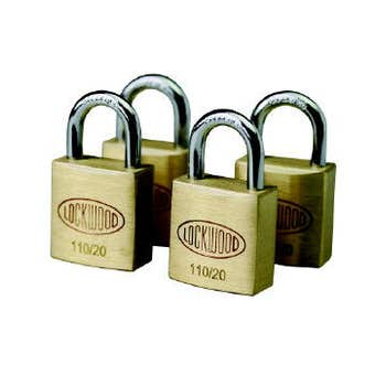 Lockwood Solid Brass 110 Series Padlock 30mm - 4 pack