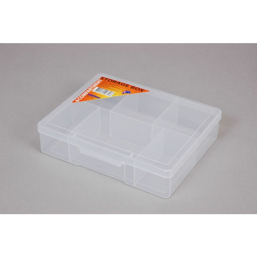Fischer Storage Box Clear Medium 6 Compartment